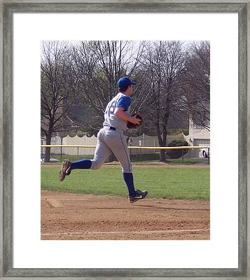 Baseball Step And Throw From Third Base Framed Print by Thomas Woolworth