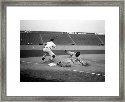 Baseball. Ty Cobb Safe At Third Framed Print by Everett