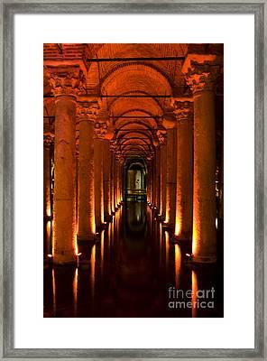 Basilica Cistern Framed Print by Leslie Leda