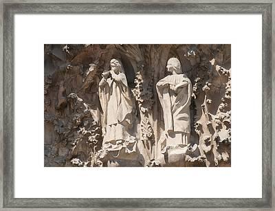 Basilica Sagrada Familia Nativity Facade Detail Framed Print by Matthias Hauser