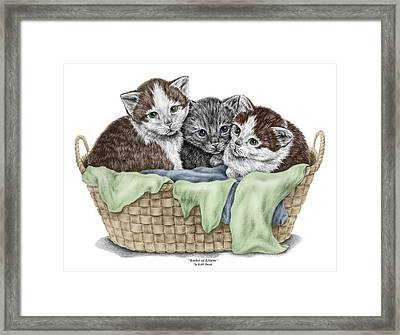 Basket Of Kittens - Cats Art Print Color Tinted Framed Print by Kelli Swan