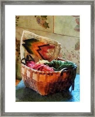 Basket Of Yarn And Tapestry Framed Print by Susan Savad