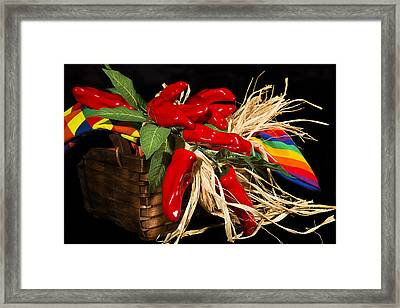 Basket Red Peppers Framed Print by Trudy Wilkerson