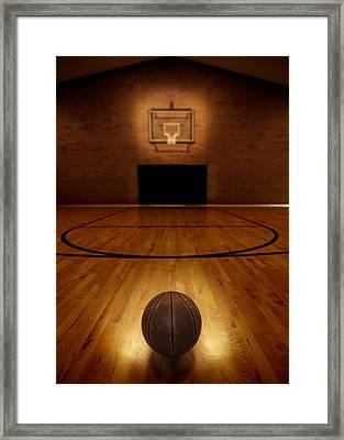 Basketball And Basketball Court Framed Print