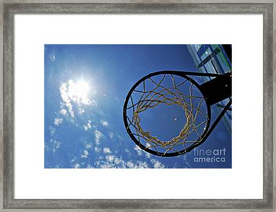 Basketball Hoop And The Sun Framed Print by Sami Sarkis