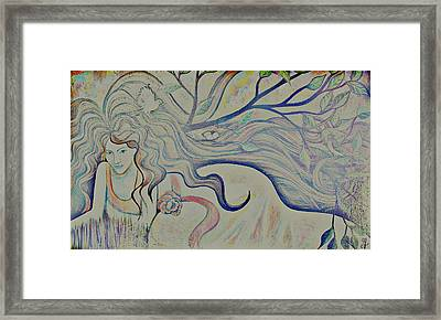 Framed Print featuring the painting Basking With Birds-distorted by Monica Furlow