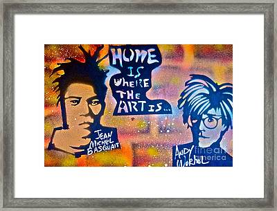 Basquait And Worhol Framed Print by Tony B Conscious