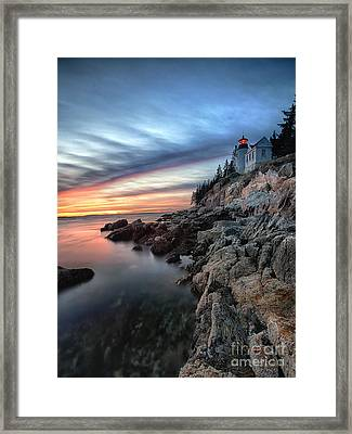 Bass Harbor Head Lighthouse At Sunset Framed Print by George Oze