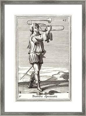 Bass Trombone, 1723 Framed Print by Granger