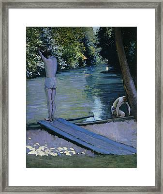 Bather About To Plunge Into The River Yerres Framed Print