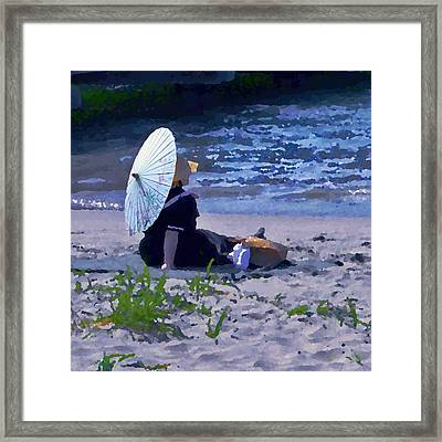 Bather By The Bay - Square Cropping Framed Print