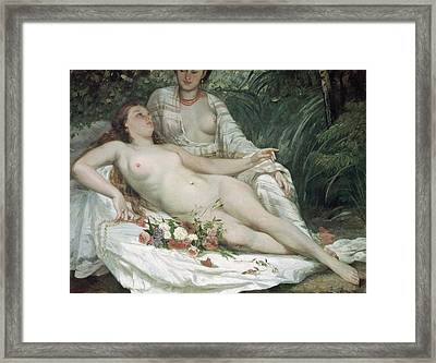 Bathers Or Two Nude Women Framed Print by Gustave Courbet