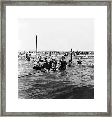 Bathing In The Gulf Of Mexico - Galveston Texas  C 1914 Framed Print