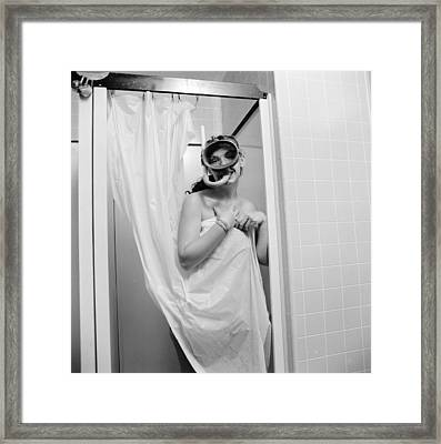 Bathroom Diving Framed Print by Sherman