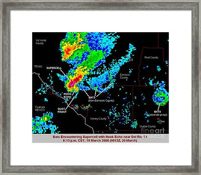 Bats Encounter Supercell With Hook Framed Print