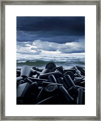Batteries Polluting The Environment Framed Print by Richard Kail