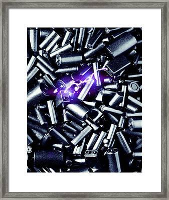 Batteries Sparking Framed Print by Richard Kail
