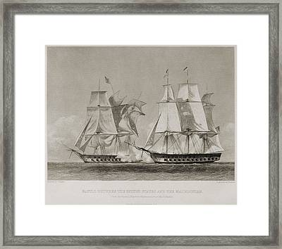 Battle Between The Uss United States Framed Print by Everett