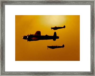 Battle Of Britain Flight At Dusk Framed Print by John Colley