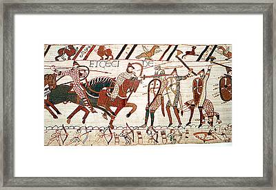 Battle Of Hastings Bayeux Tapestry Framed Print by Photo Researchers