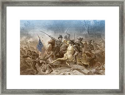 Battle Of Shiloh, Charge Of General Framed Print by Photo Researchers