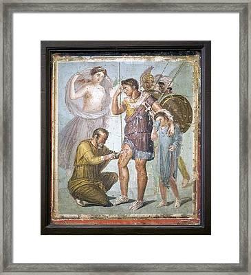 Battle Wounds Of Aeneas, Roman Fresco Framed Print by Sheila Terry