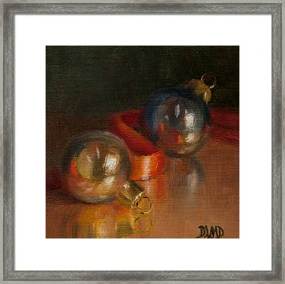 Baubles And Ribbon Framed Print by Debbie Lamey-MacDonald