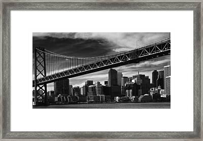 Bay Bridge And Dowtown San Francisco Framed Print by Laszlo Rekasi