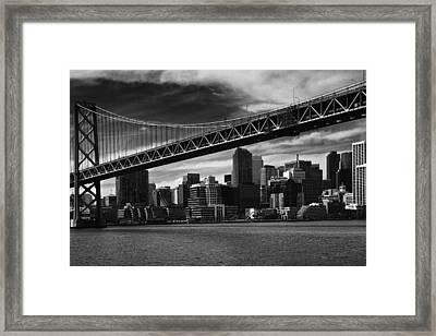 Bay Bridge And San Francisco Downtown Framed Print by Laszlo Rekasi