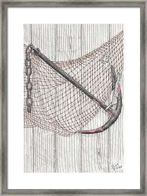 Beach Anchor And Net. Framed Print by Calvert Koerber