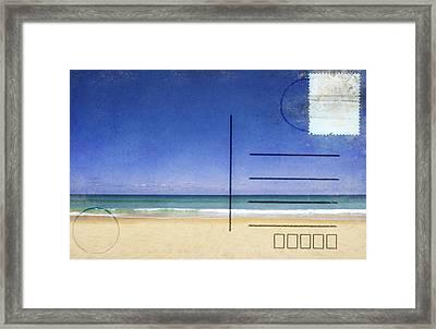 Beach And Blue Sky On Postcard  Framed Print