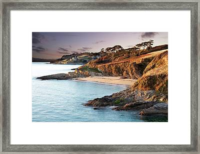 Beach And Castle In Uk Framed Print by Ray Bradshaw