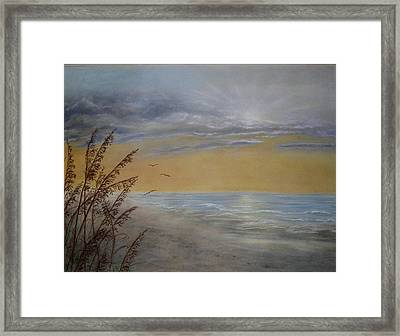 Framed Print featuring the painting Beach At Dawn by Kathleen McDermott