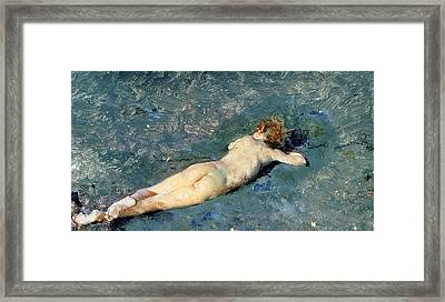 Beach At Portici Framed Print by Mariano Fortuny y Marsal
