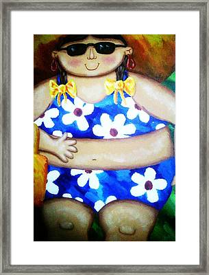Beach Babe Framed Print by Unique Consignment