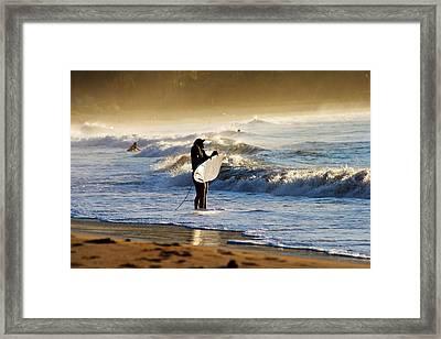 Beach Break Framed Print by Lennie Green