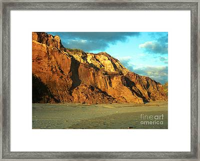 Framed Print featuring the photograph Beach Cliff At Sunset by Mark Dodd