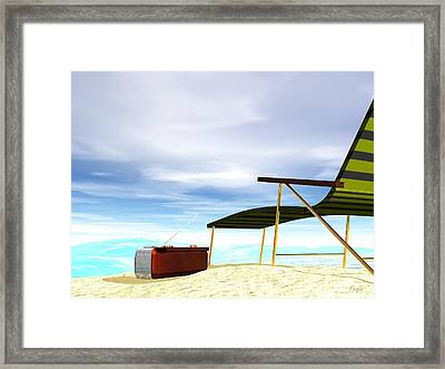 Framed Print featuring the digital art Beach Day by John Pangia