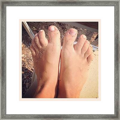 Beach Feet! 👣#feet #pink #beach Framed Print