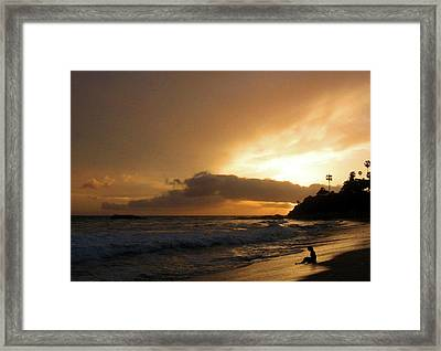 Beach Girl Sunset Framed Print by Ed Golden