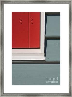 Beach House - Red Gray White Framed Print by Hideaki Sakurai