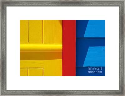 Beach House - Yellow Blue With Red Line IIi Framed Print by Hideaki Sakurai