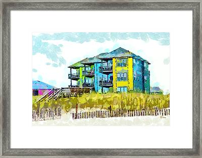 Beach House At The Outer Banks Framed Print by Anne Kitzman