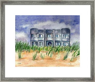 Framed Print featuring the painting Beach House by Clara Sue Beym
