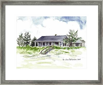 Framed Print featuring the painting The Little House On East Beach by Joan Hartenstein