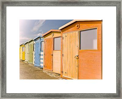 Beach Huts Framed Print by Phil Clements