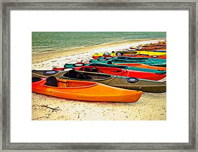 Framed Print featuring the photograph Beach Kayaks by Susan Leggett