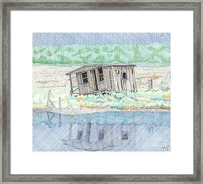 Beach Old Wooden Building Framed Print