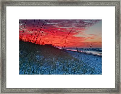 Beach On Fire Framed Print by At Lands End Photography