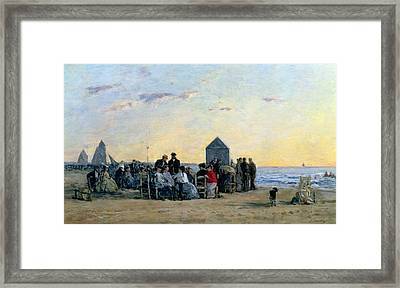 Beach Scene At Trouville - Sunset Framed Print